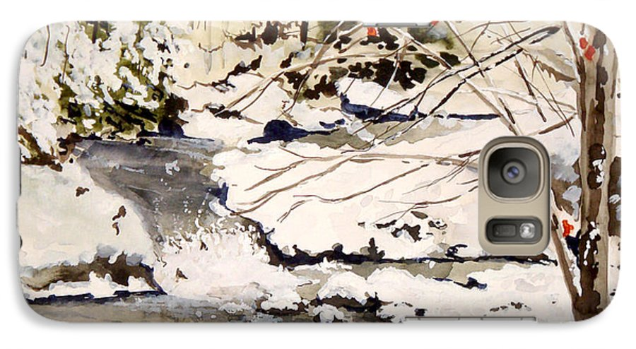 Winter Scene Galaxy S7 Case featuring the painting First Snowfall by Jean Blackmer