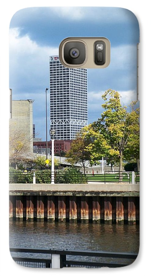 First Star Bank Galaxy S7 Case featuring the photograph First Star Tall View From River by Anita Burgermeister