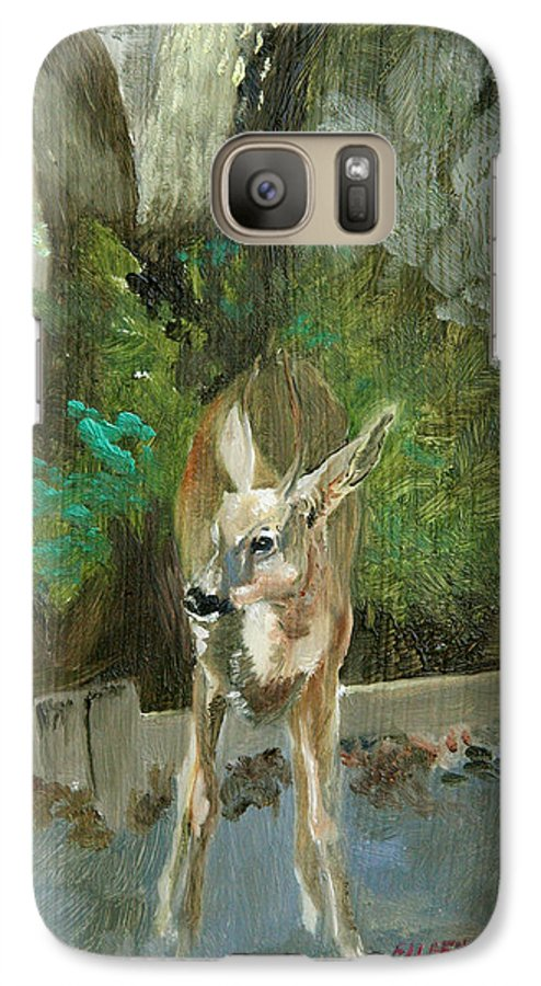 Deer Galaxy S7 Case featuring the painting First Young Buck Pad by Eileen Hale