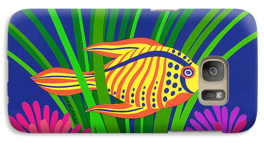 Nature Galaxy S7 Case featuring the drawing Fish by Lucyna A M Green