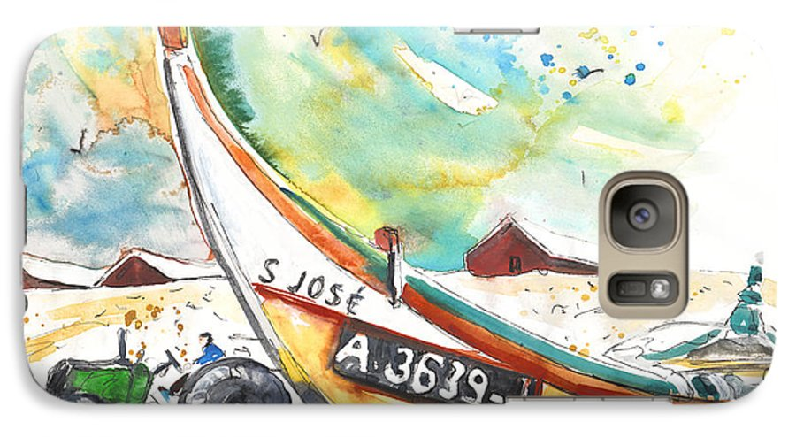 Portugal Galaxy S7 Case featuring the painting Fisherboat In Praia De Mira by Miki De Goodaboom