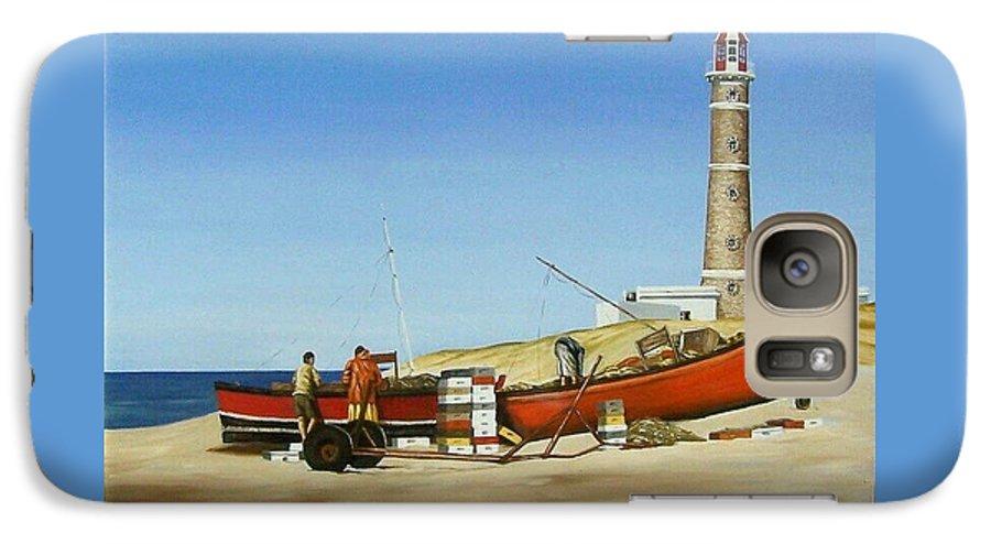 Lighthouse Fishermen Sea Seascape Galaxy S7 Case featuring the painting Fishermen By Lighthouse by Natalia Tejera