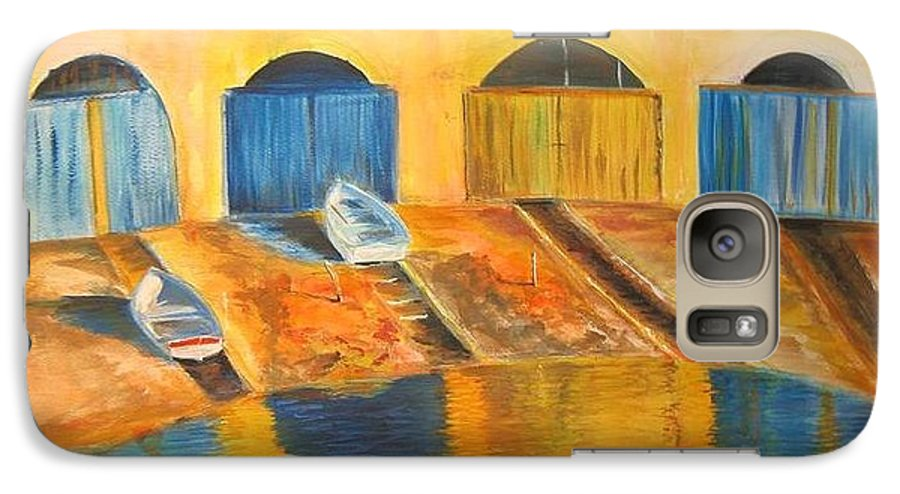Boats Galaxy S7 Case featuring the painting Fishermens Boats At Sundown by Lizzy Forrester