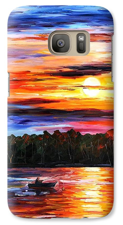 Seascape Galaxy S7 Case featuring the painting Fishing By The Sunset by Leonid Afremov