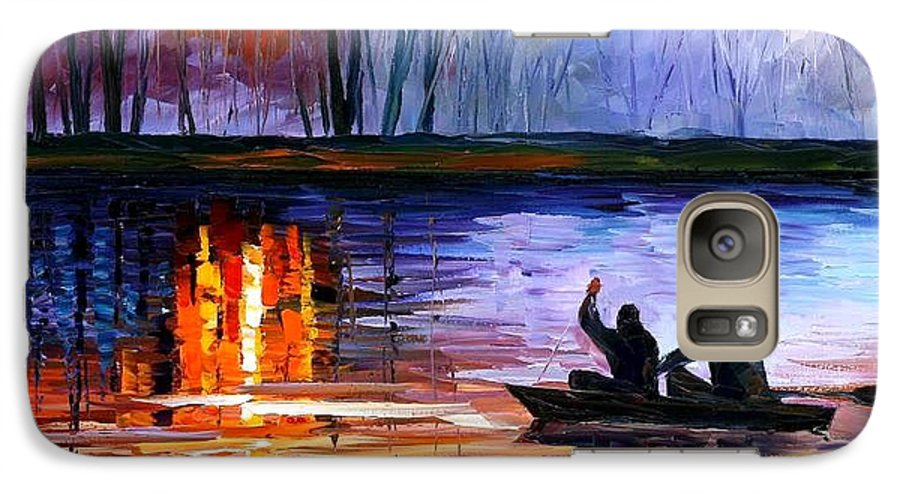 Seascape Galaxy S7 Case featuring the painting Fishing On The Lake by Leonid Afremov