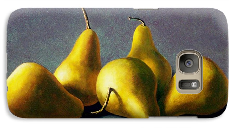Still Life Galaxy S7 Case featuring the painting Five Golden Pears by Frank Wilson