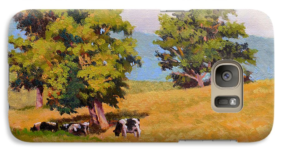 Landscape Galaxy S7 Case featuring the painting Five Oaks by Keith Burgess