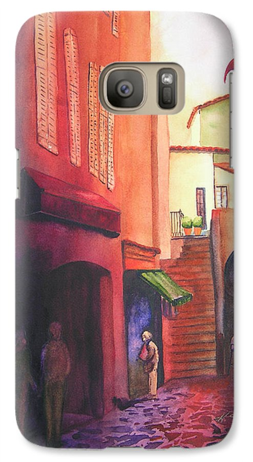 Europe Galaxy S7 Case featuring the painting Flag Over St. Tropez by Karen Stark