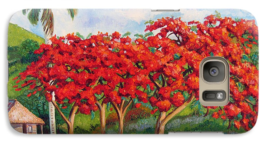 Cuban Art Galaxy S7 Case featuring the painting Flamboyans by Jose Manuel Abraham
