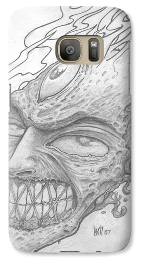 Zombie Galaxy S7 Case featuring the drawing Flamehead by Will Le Beouf
