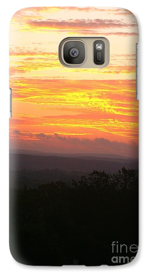 Sunrise Galaxy S7 Case featuring the photograph Flaming Autumn Sunrise by Nadine Rippelmeyer