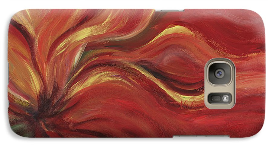 Red Galaxy S7 Case featuring the painting Flaming Flower by Nadine Rippelmeyer