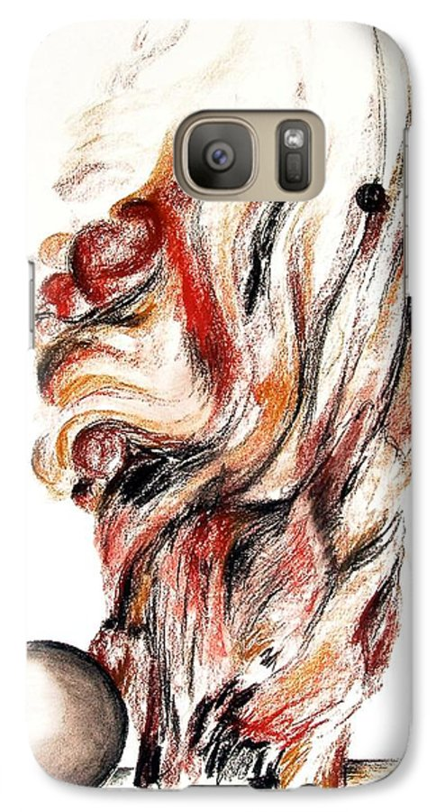 Still Life Galaxy S7 Case featuring the drawing Flamme En Bois by Muriel Dolemieux