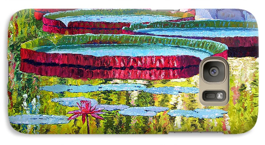 Lily Pond Galaxy S7 Case featuring the painting Floating Parallel Universes by John Lautermilch