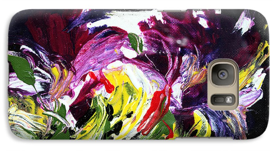 Abstract Galaxy S7 Case featuring the painting Floral Flow by Mario Zampedroni