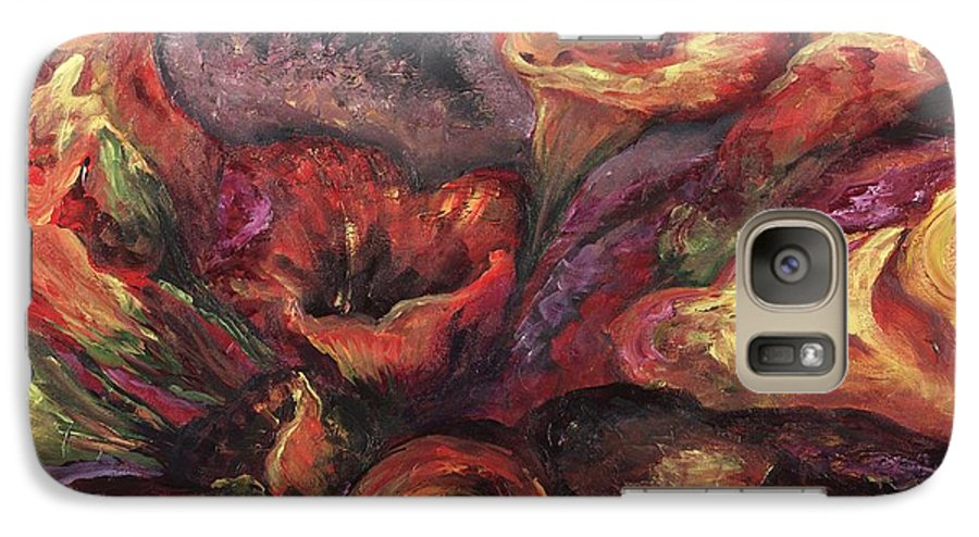 Calla Lilies Galaxy S7 Case featuring the painting Floral Sun Worship by Nadine Rippelmeyer