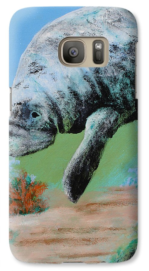 Florida Galaxy S7 Case featuring the painting Florida Manatee by Susan Kubes