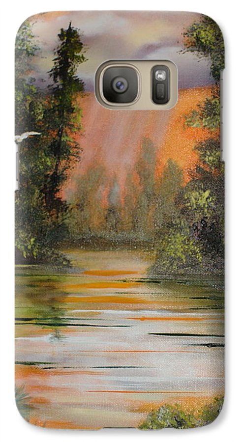 Landscape Galaxy S7 Case featuring the painting Florida Thunderstorm by Susan Kubes
