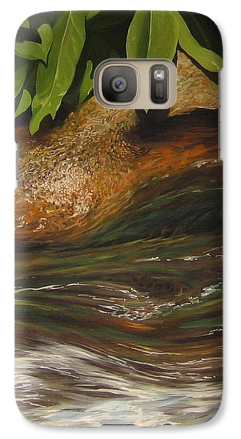 Colorado Mountain Stream Galaxy S7 Case featuring the painting Flow by Hunter Jay