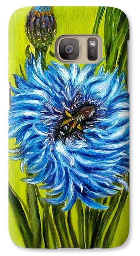 Flower Galaxy S7 Case featuring the painting Flower And Bee Oil Painting by Natalja Picugina