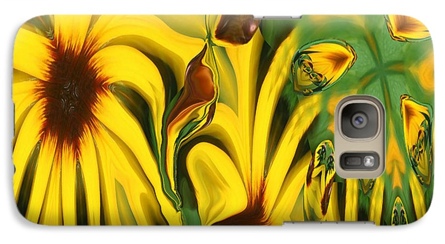 Abstract Galaxy S7 Case featuring the photograph Flower Fun by Linda Sannuti