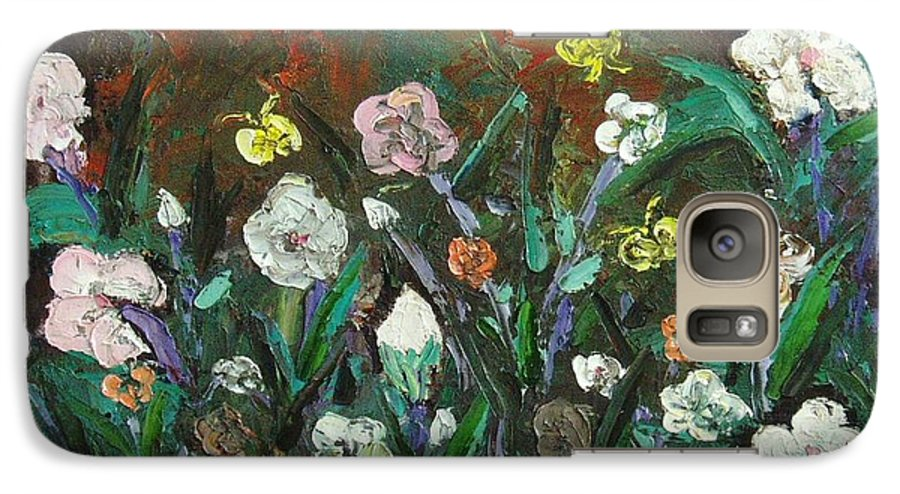 Abstract Paintings Galaxy S7 Case featuring the painting Flower Garden by Seon-Jeong Kim