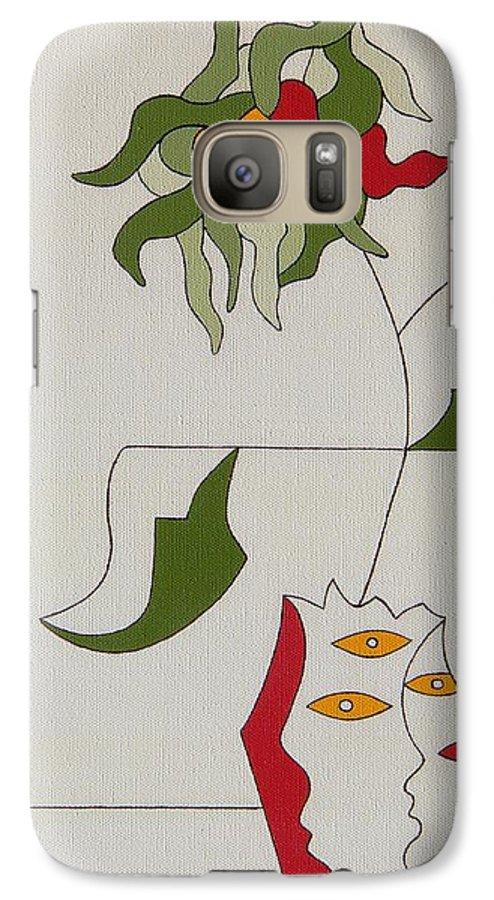 Flower Modern Constructivisme Special Original Galaxy S7 Case featuring the painting Flower by Hildegarde Handsaeme