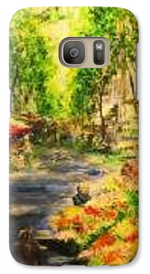 Ramblas Galaxy S7 Case featuring the painting Flower Stands In The Ramblas Barcelona by Lizzy Forrester