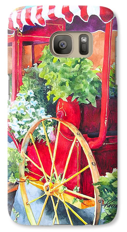 Floral Galaxy S7 Case featuring the painting Flower Wagon by Karen Stark