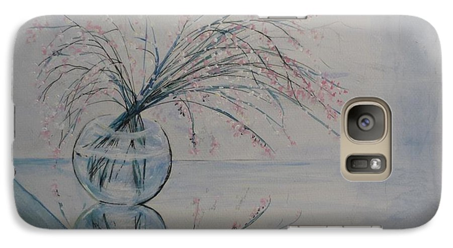 Reflection Galaxy S7 Case featuring the painting Flowers Glass Water And Mirror by Lizzy Forrester