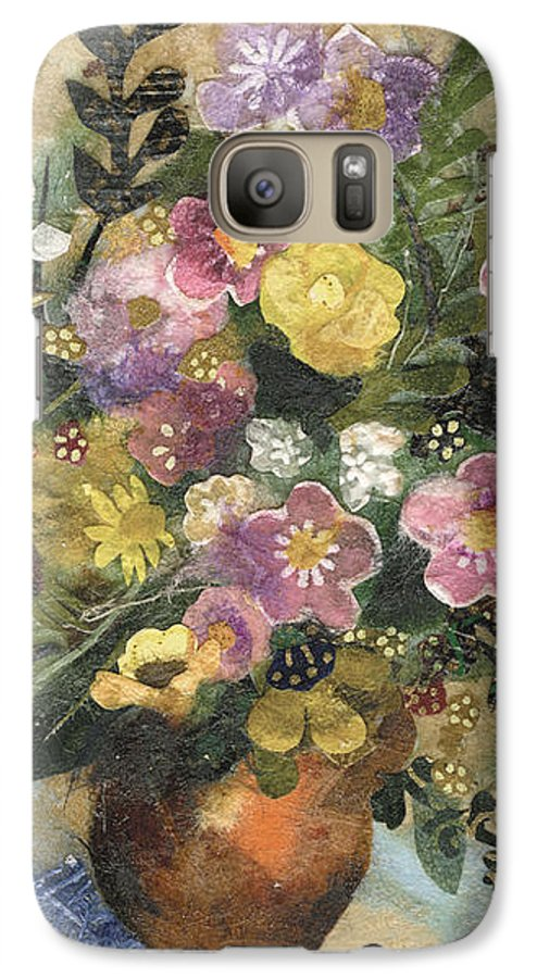 Limited Edition Prints Galaxy S7 Case featuring the painting Flowers In A Clay Vase by Nira Schwartz