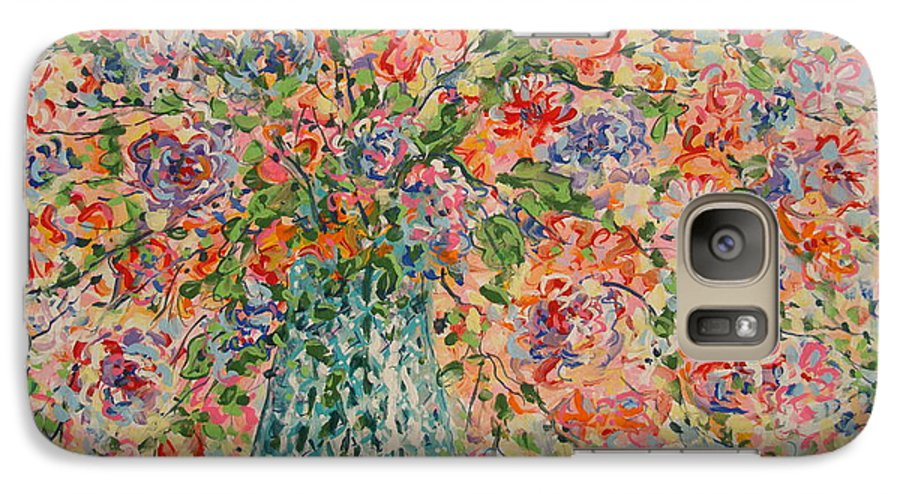 Flowers Galaxy S7 Case featuring the painting Flowers In Crystal Vase. by Leonard Holland