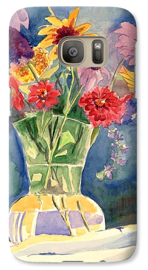 Flowers In Glass Vase Galaxy S7 Case featuring the painting Flowers In Glass Vase by Judy Swerlick