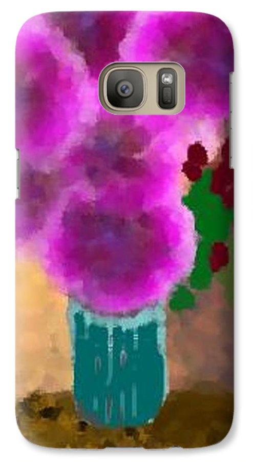 Flowers.colors.llilac.red.rose.green.blue.room.flower Vase.leaves Galaxy S7 Case featuring the digital art Flowers In Room by Dr Loifer Vladimir