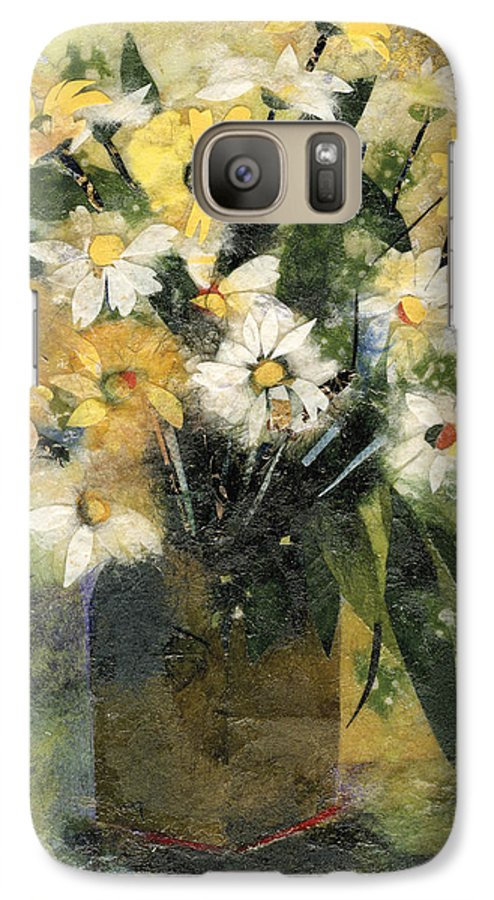 Limited Edition Prints Galaxy S7 Case featuring the painting Flowers In White And Yellow by Nira Schwartz