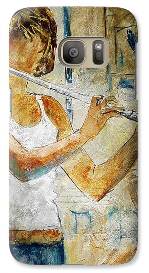 Music Galaxy S7 Case featuring the painting Flutist by Pol Ledent