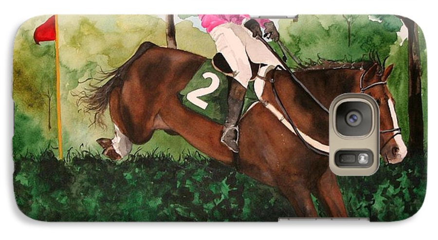Horse Galaxy S7 Case featuring the painting Flying High by Jean Blackmer
