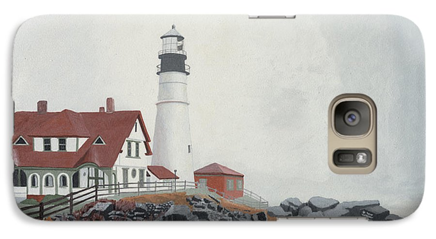 Lighthouse Galaxy S7 Case featuring the painting Fog Approaching Portland Head Light by Dominic White
