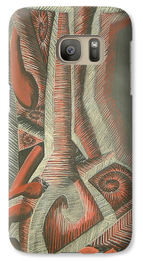 Abstract Galaxy S7 Case featuring the drawing Foot by Donald Burroughs