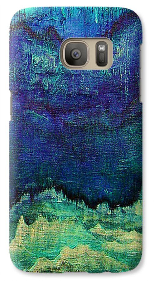 Blue Galaxy S7 Case featuring the painting For Linda by Shadia Derbyshire