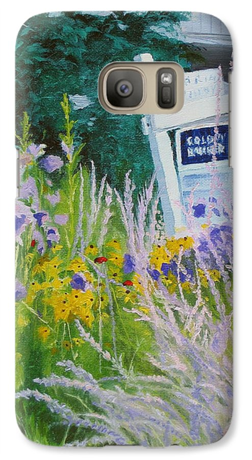 Landscape Galaxy S7 Case featuring the painting For Sale - A Patch Of Paradise by Lea Novak
