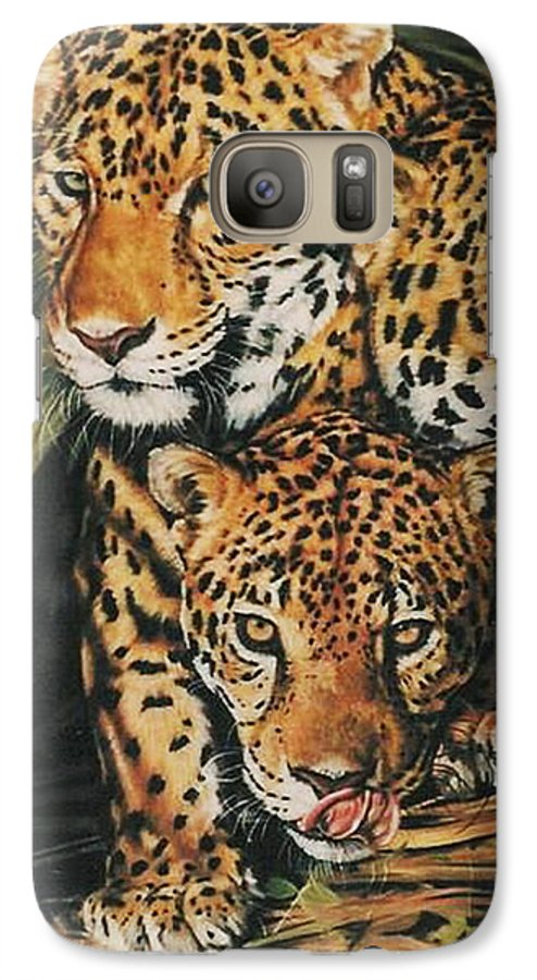 Jaguar Galaxy S7 Case featuring the pastel Forest Jewels by Barbara Keith
