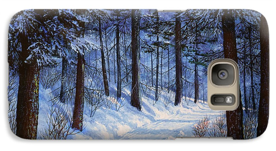 Landscape Galaxy S7 Case featuring the painting Forest Road by Frank Wilson