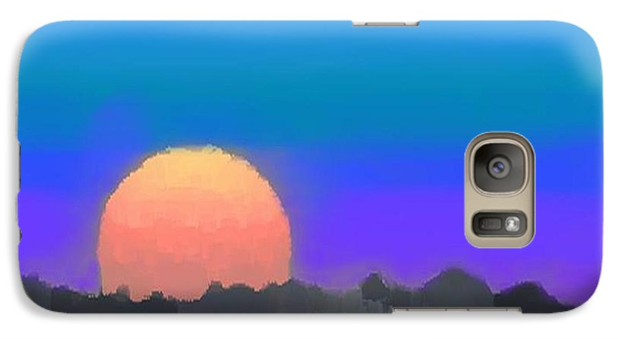Evenung.sunset.sky.sun.background Forest.silence.rest Galaxy S7 Case featuring the digital art Forest Sunset. by Dr Loifer Vladimir