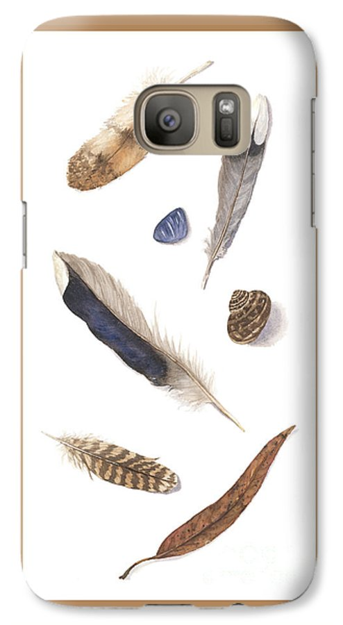 Feathers Galaxy S7 Case featuring the painting Found Treasures by Lucy Arnold