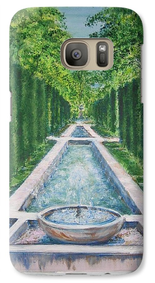 Fountain Galaxy S7 Case featuring the painting Fountain Palma De Mallorca Capital by Lizzy Forrester
