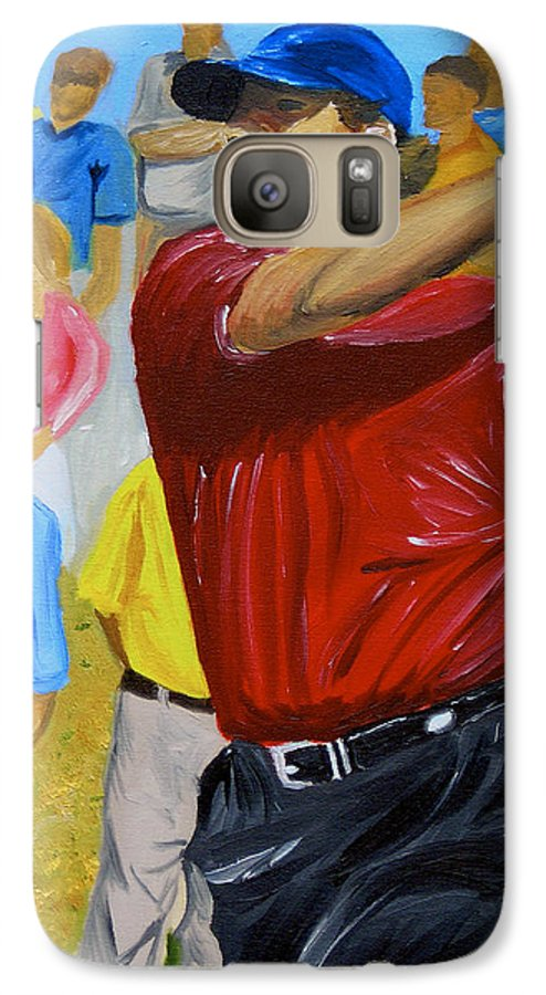Golf Galaxy S7 Case featuring the painting Four by Michael Lee