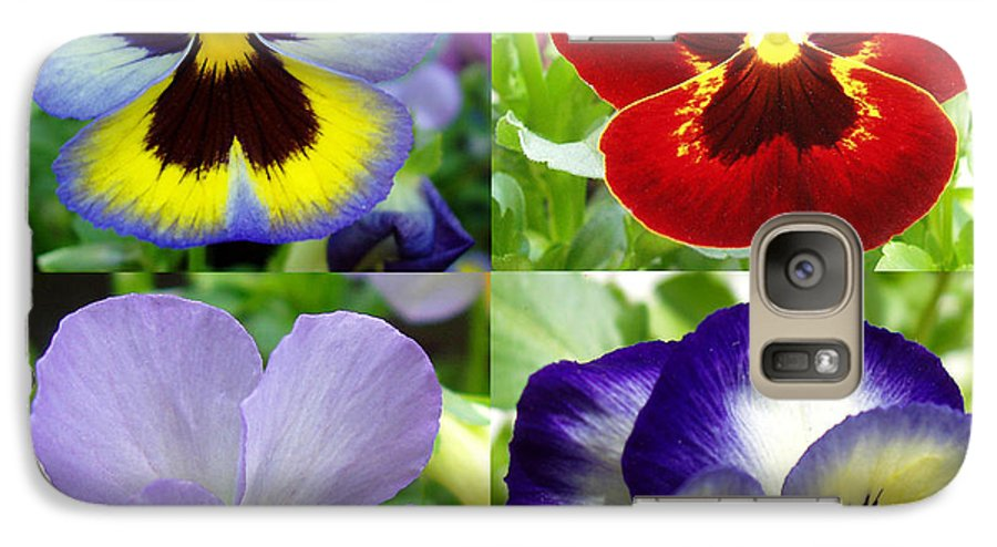 Pansy Galaxy S7 Case featuring the photograph Four Pansies by Nancy Mueller