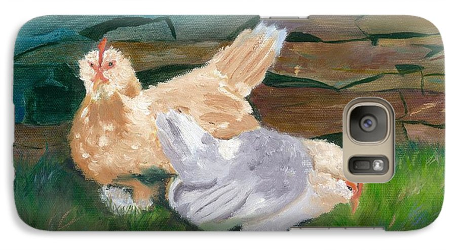 Chickens Bantams Countryside Stonewall Farm Galaxy S7 Case featuring the painting Fowl Play by Paula Emery