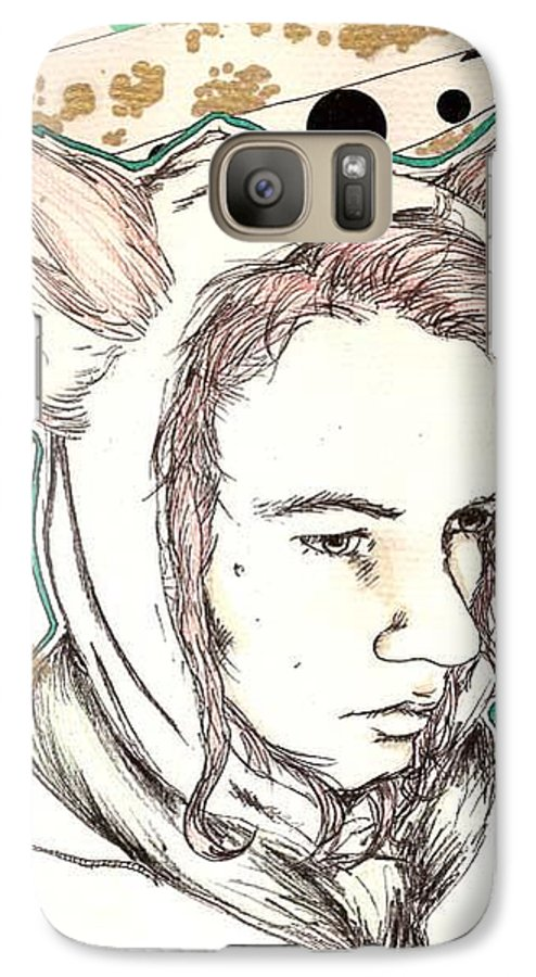 Ears Fow Star Boy Portrait Red Galaxy S7 Case featuring the drawing Fox by Freja Friborg